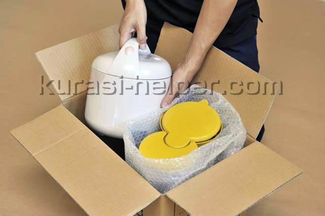 ダンボール箱に入らない家電製品はスタッフが梱包