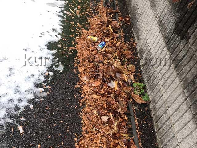 落ち葉やゴミであふれてしまった側溝